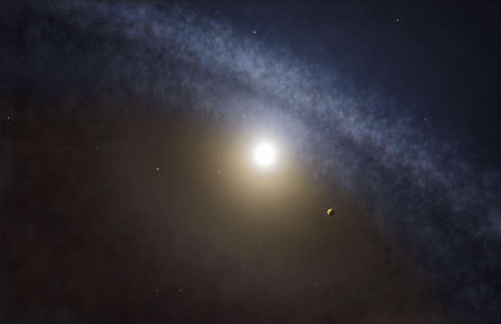 Illustration d'une planète géante autour d'une jeune étoile. Pour les chercheurs, dans les quatre cas observés, elles ont nettoyé le gaz à mesure qu'elles décrivaient leurs orbites autour de l'étoile centrale et piégé les particules de poussière en périphérie. © Alma, Eso, NAOJ, NRAO, M. Kornmesser