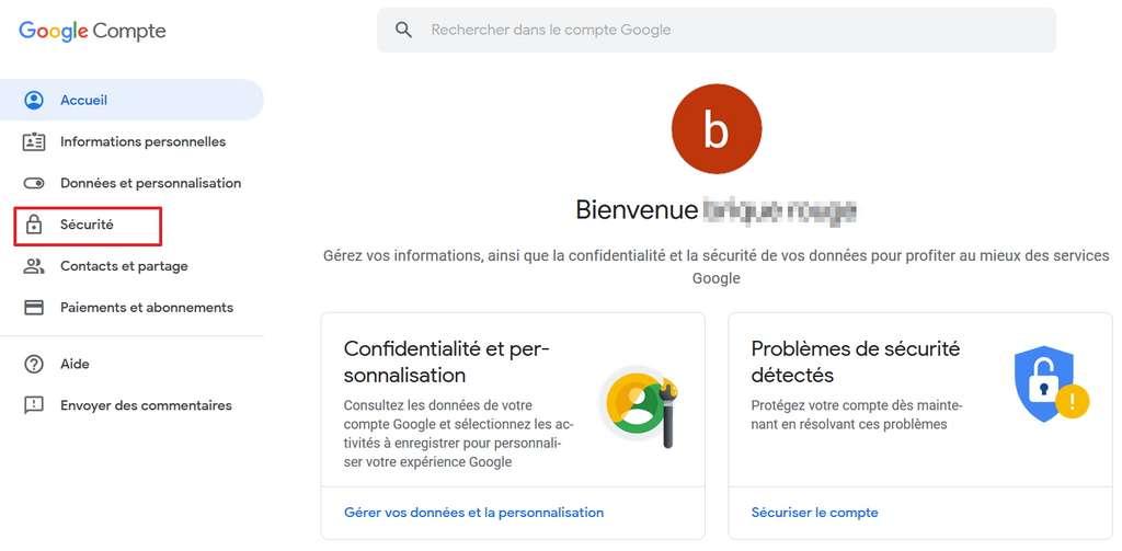 Allez dans les options de sécurité de votre compte Google. © Google