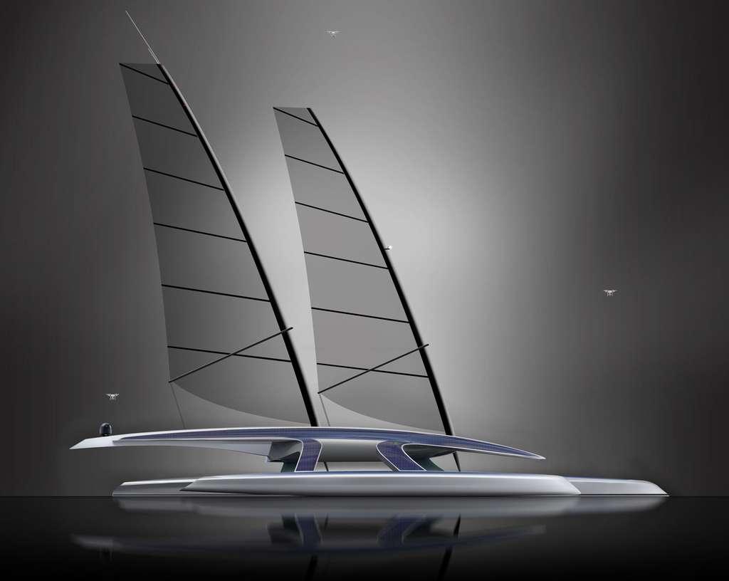 Quatre cents ans plus tard, la nouvelle version du Mayflower va tenter la traversée de l'Atlantique mais cette fois sans le moindre équipage. Toutes les surfaces planes du navire seront couvertes de panneaux photovoltaïques qui alimenteront des moteurs électriques et des panneaux solaires rétractables se déploieront automatiquement lorsque la mer sera calme. © Shuttleworth Design