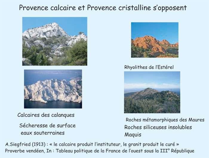 Figure 3. Les calcaires des calanques, les roches métamorphiques du massif des Maures et les rhyolithes de l'estérel. © J. Collina-Girard