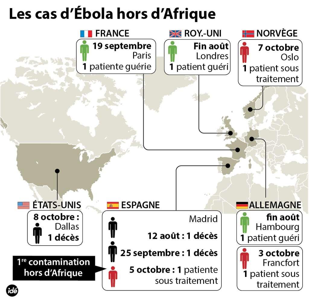 Des virus Ébola ont pris l'avion. Venues d'Afrique de l'ouest, des personnes infectées ont été repérées et soignées, souvent avec efficacité. Un premier cas de contamination hors Afrique eu lieu au début du mois d'octobre, en Espagne, suivi de deux autres, au Texas. © Idé