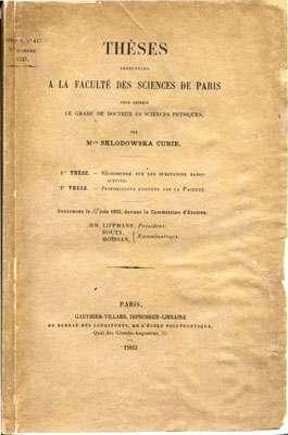 La thèse de doctorat de Marie Curie