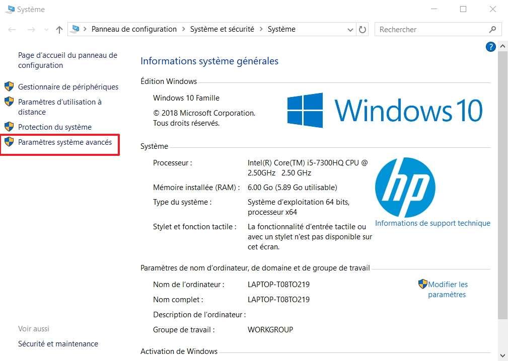 Un clic sur «Paramètres système avancés» est requis pour passer à l'étape suivante. © Microsoft