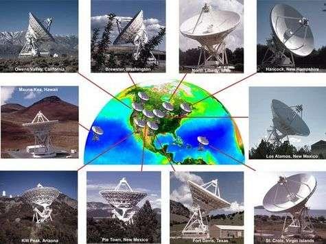 Les dix radiotélescopes du VLBA (Very Long Baseline Array) (Crédits : NRAO / AUI / NSF & SeaWiFS Project NASA/GSFC & ORBIMAGE)