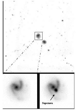 Images obtenues au télescope CFH dans le cadre du sondage de supernovae SNLS. On y voit une galaxie observée à deux époques différentes. L'image inférieure droite montre la supernova ayant explosé entre temps dans la galaxie. La grande luminosité intrinsèque de ces astres (environ 100 milliards de fois le Soleil) associée à sa quasi constance en font des « chandelles standard » permettant de sonder l'univers lointain. La distance de la galaxie hôte de la supernova est mesurée à l'aide des instruments du VLT à l'ESO. © DR