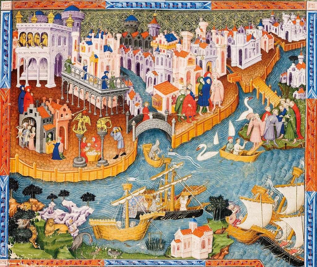 Miniature d'une vue de Venise dans le Livre des Merveilles, de Marco Polo ; exemplaire anglais édité au XVe siècle. British Library, Londres. © History, Bridgeman