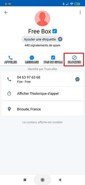 L'option « Bloquer » résout votre problème avec cet interlocuteur. © True Software Scandinavia AB