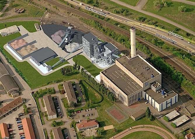 Modernisation de la centrale de charbon et gaz naturel de Metz-Chambière en Lorraine. Son unité de cogénération à biomasse forestière assurera 60 % de la production énergétique. Mise en service le 1er octobre 2012. © ecomateriaux.net