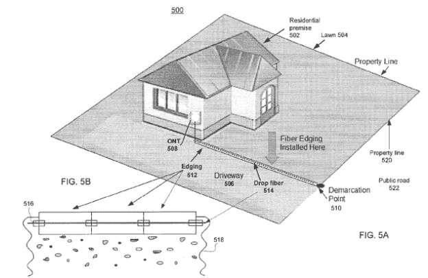 Le schéma du brevet de fourreau, déposé par Google pour le projet Google Fibre, montre comment il peut acheminer la fibre optique depuis la rue jusqu'au pas de porte de l'abonné, en passant sous la terre ou en apparent, selon la configuration. © Google