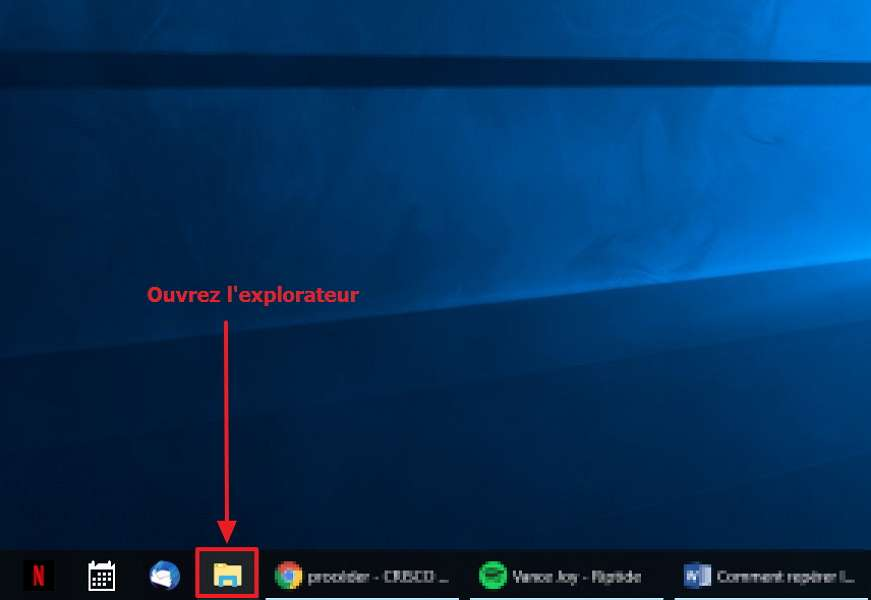 Accédez à l'explorateur Windows. © Microsoft