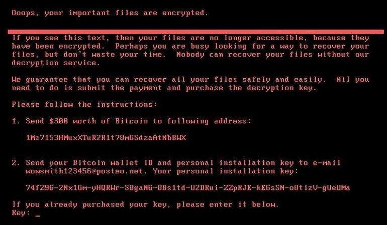 Voici une capture d'écran du message qui apparaît sur les ordinateurs infectés par le rançongiciel Petya. © Symantec