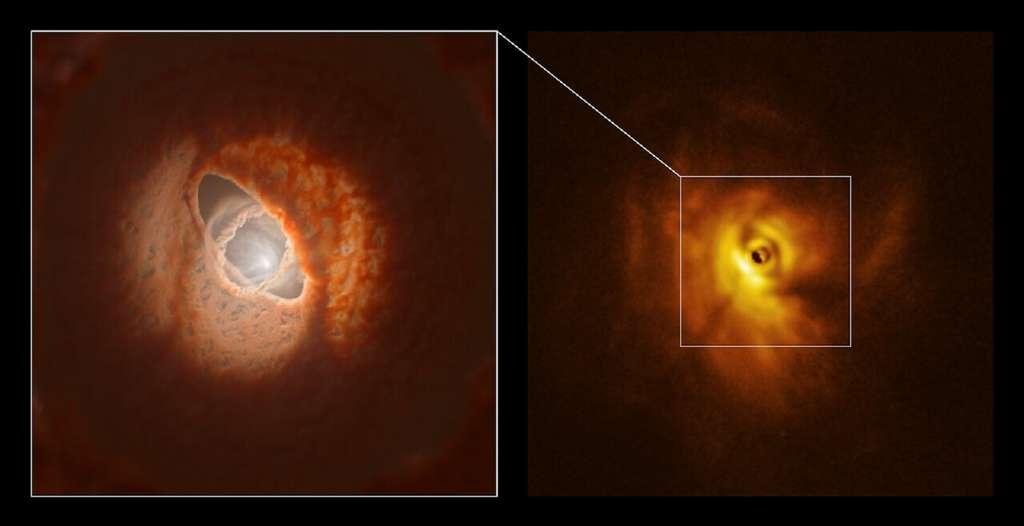 L'anneau intérieur de GW Orionis : modélisation (à gauche) et observation (à droite). © ESO, L. Calçada, Exeter, Kraus et al.
