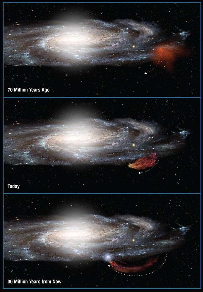 Une représentation d'artiste de l'histoire du nuage de Smith. Son départ de la Voie lactée a été causé par un événement inconnu mais sa trajectoire le ramènera dans son disque dans 30 millions d'années. © Nasa, Esa