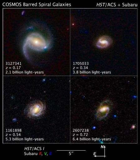 Quelques exemples de galaxies découvertes par Cosmos et dont le décalage spectral z (donc la distance), a été déterminé grâce aux télescopes Hubble et Subaru, sur le Mauna Kea, à Hawaï. Crédit : Nasa, Esa et Z. Levay (STScI)