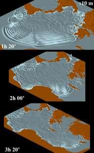 Simulée par l'équipe italienne, l'éruption de l'Etna aurait généré, par glissements de terrain interposés, d'énormes vagues à même de dévaster les côtes de tout le bassin oriental de la Méditerranée. Crédit : Maria Pareschi et al., Geophysical Research Letters (2006)
