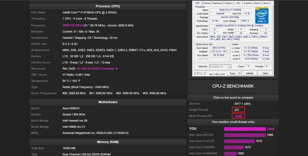 Une page Web affiche les résultats du CPU. Il faut cliquer sur le score pour ouvrir le classement des processeurs. © CPUID