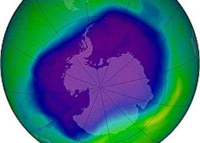 Le trou dans la couche d'ozone le 12 septembre 2007. Crédit OMM