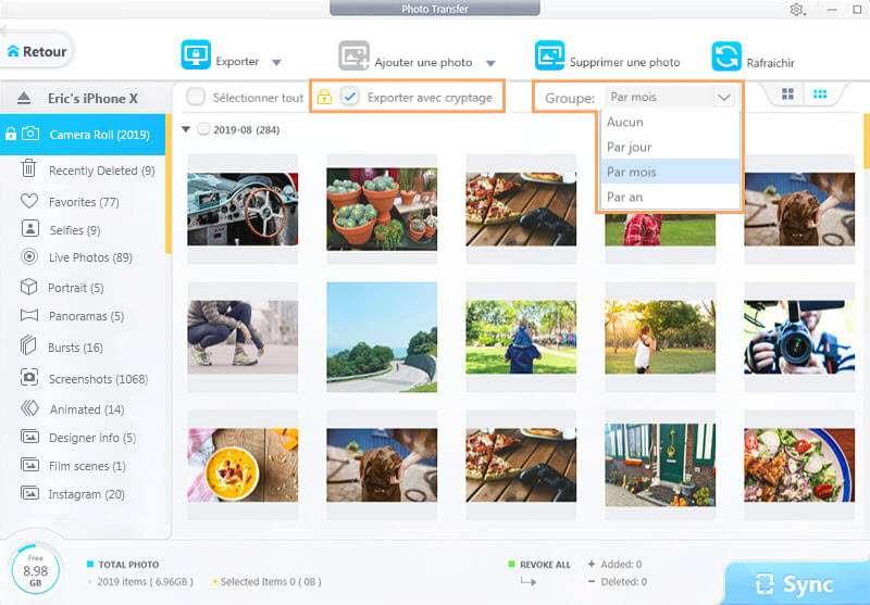 Visualiser les photos sous forme de vignettes plus ou moins grandes. © DearMob iPhone Manager