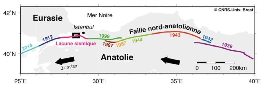Zones et années de rupture de la faille nord-anatolienne, entre Anatolie et Europe. Le segment ici encadré, en mer de Marmara, présente une lacune de sismicité depuis 1766. © J-Y Royer, CNRS-UBO, LDO