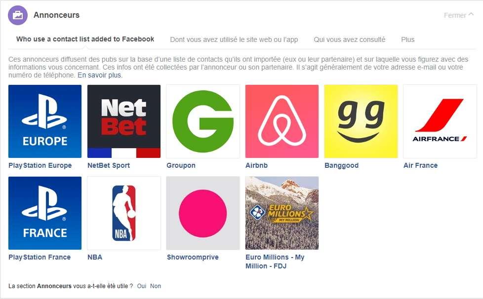Vous pouvez masquer la publicité provenant de certains annonceurs. © Facebook