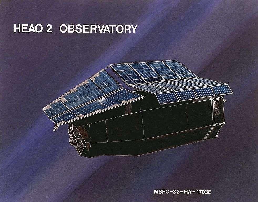Une vue d'artiste du satellite HEAO-2. © Nasa