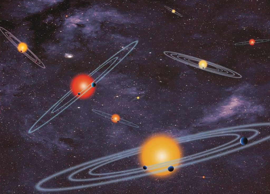Illustration de différents systèmes planétaires découverts autour d'étoiles qui ressemblent à notre Soleil ou aussi des naines rouges. L'AUI invite les associations et clubs d'astronomie dans le monde entier à faire des propositions pour nommer 305 exoplanètes sélectionnées et confirmées. © Nasa
