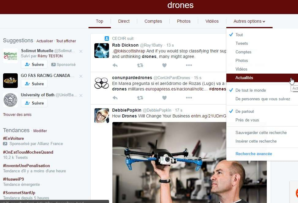 Les options de recherche basiques de Twitter permettent de faire un tri très efficace. Ceux qui veulent aller plus loin peuvent utiliser la recherche avancée. © Futura-Sciences