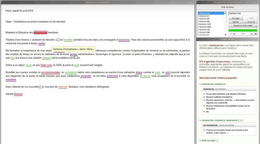 Le Robert Correcteur est le logiciel de correction disposant de l'interface la plus claire et la plus simple à utiliser. © Le Robert