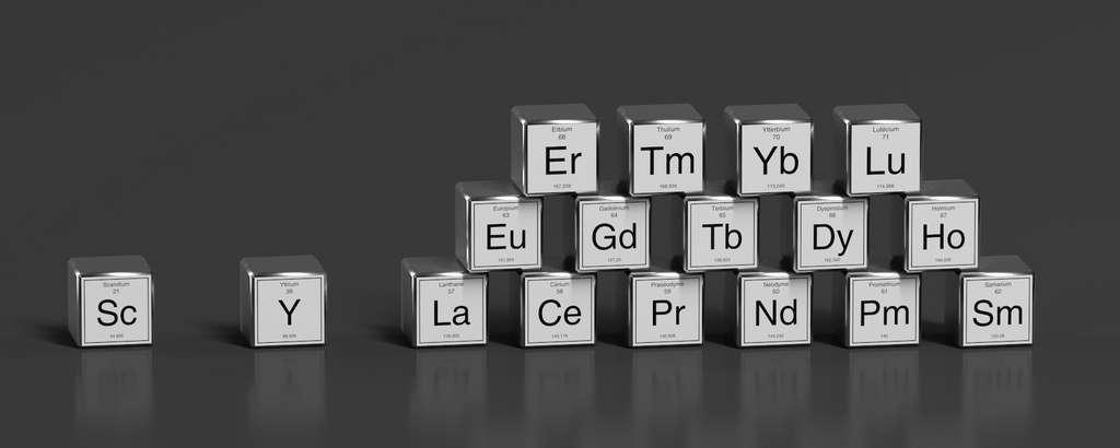 Les terres rares sont un groupe de métaux finalement assez répandus dans la croûte terrestre. Pour la fabrication des aimants permanents d'éoliennes, c'est surtout le néodyme (Nd) et le dysprosium (Dy) qui sont utilisés. © Fox-Dsign, Adobe Stock