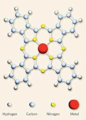 En jaune, les atomes d'azote dans une molécule de MPc. Crédit : Nature / Jeroen van den Brink - Alberto F. Morpu