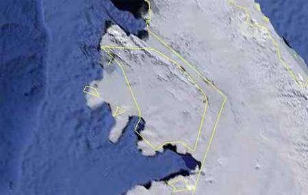 Délimité en jaune, Wilkins, vu par Google Earth. Crédit Google