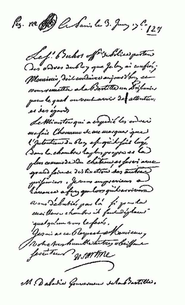 Lettre de cachet de la main d'Antoine de Sartine, lieutenant général de police de Paris (de 1759 à 1774), à l'attention du gouverneur de la Bastille. Bastille archives. © Wikimedia Commons, domaine public