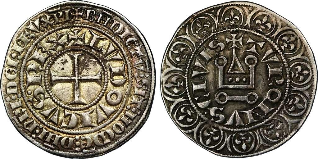 """""""Gros tournois"""" de Louis IX, argent - 25,4 mm - 4,06 g ; """"Ludovicus Rex"""", """"Louis Roi"""" et """"Turonus Civis"""", """"Cité de Tours"""". Photo CGB. © Wikimedia Commons, domaine public."""