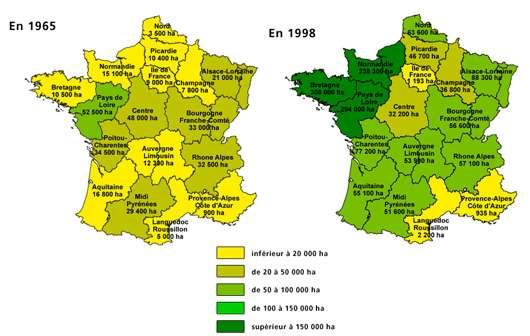 Évolution de la culture du maïs en France.