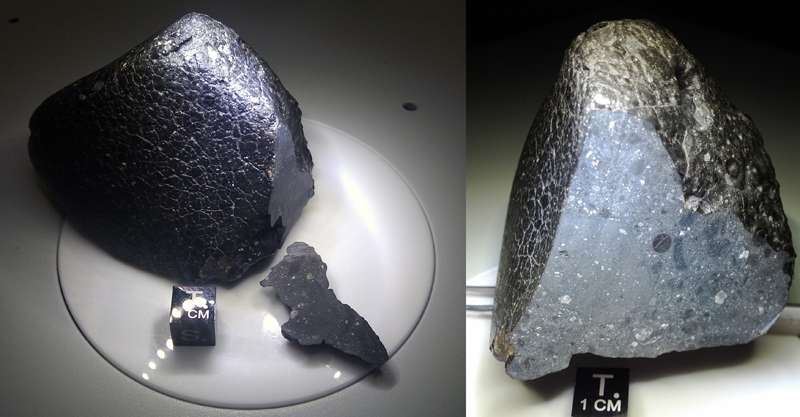 Northwest Africa 7034 (abrégé en NWA 7034) est une météorite martienne qui ne se classe dans aucune des trois catégories existantes pour ce type de météorites, le groupe SNC (Shergottites, Nakhlites, Chassignites). La plus ancienne météorite martienne découverte à ce jour a été surnommée Black Beauty (Beauté noire) et c'est une brèche. © Institute of Meteoritics UNM
