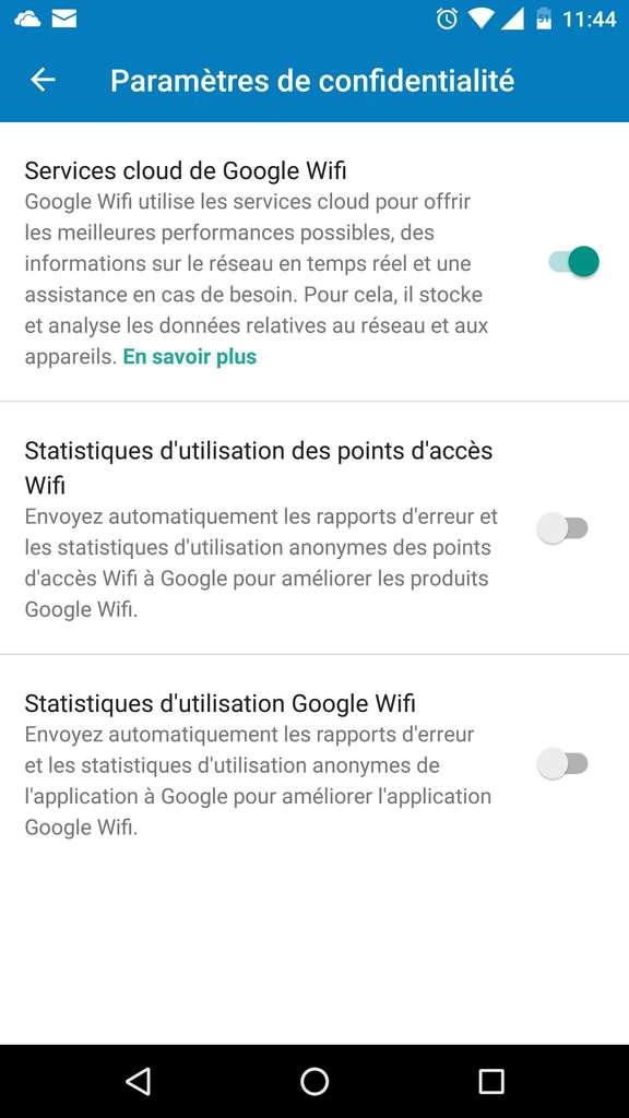 Paramètres de confidentialité Google Wifi. © Futura