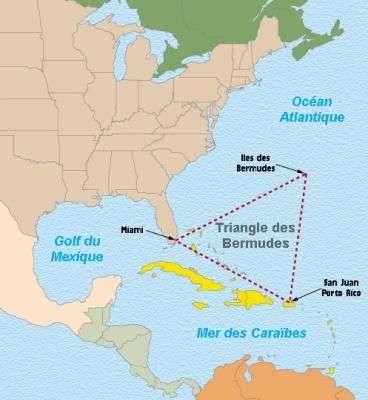 Le célèbre triangle, au nord-est des Antilles, délimité par les Bermudes, la pointe sud de la Floride et Puerto Rico. © DR