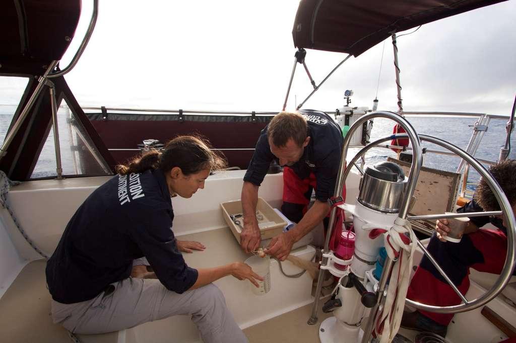 Claire Pusineri (à gauche) et Patrick Deixonne (à droite) prélèvent le phytoplancton récolté à partir des filets Manta. © Soizic Lardeux, OSL