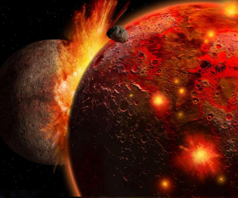 Une vue d'artiste de la collision de Théia avec la jeune Terre. Sur cette image, Théia est plus grosse que Mars, ce qui apparait maintenant comme possible. © Ron Miller