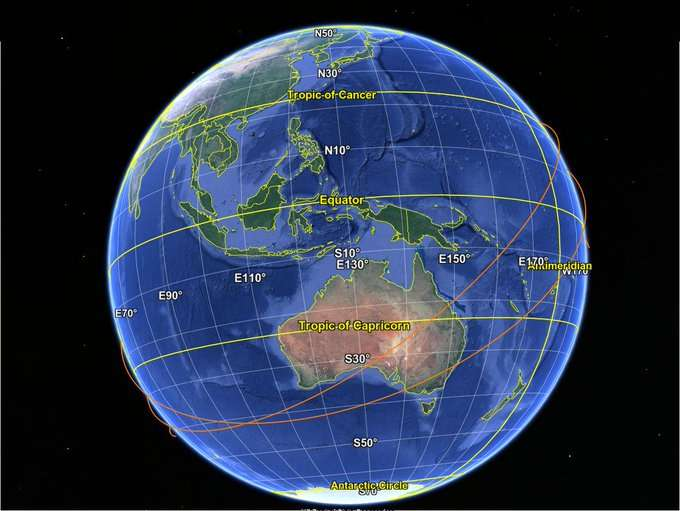 Prédiction de rentrée atmosphérique pour la fusée Longue Marche 5 (CZ-5B) © Google, SIO, NOAA, U.S. Navy, NGA, GEBCO, Copernicus, Image Landsat