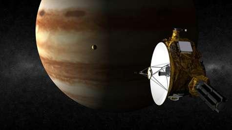Vue d'artiste montrant le passage de New Horizons près de Jupiter, le 28 février prochain. Crédit NASA.