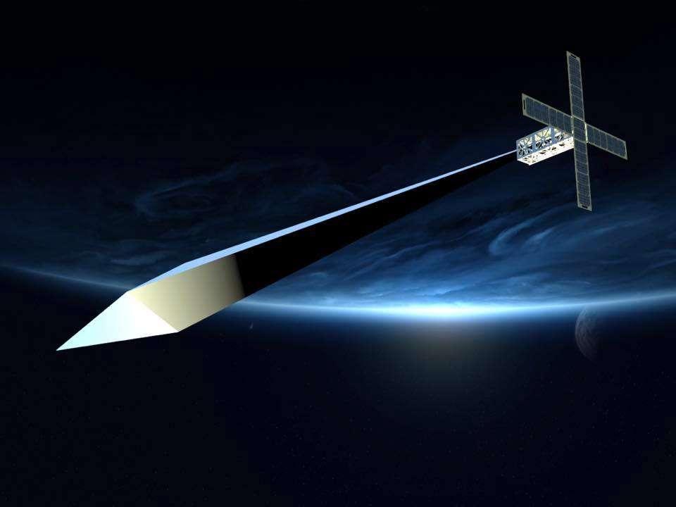 L'Orbital Reflector, une sculpture lancée en décembre dernier, attend toujours d'être déployée dans l'espace. © Nevada Museum of Art