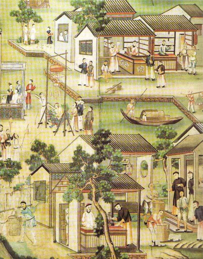 Détail de papier peint chinois de la fin XVIIIe siècle illustrant la fabrication de porcelaines (musée du Louvre).