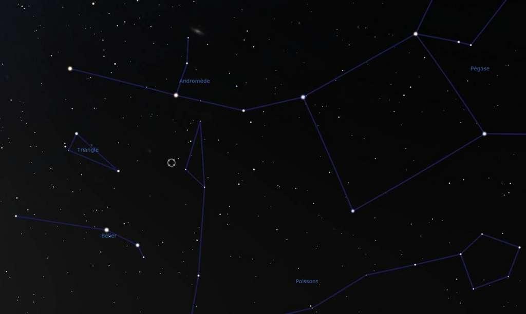 Carte des constellations voisines de HD8574. La position de l'étoile est signalée par un cercle, entre la partie nord des Poissons, le Triangle, et au sud d'Andromède. La galaxie, en haut de l'image, est la fameuse galaxie d'Andromède. © F. Mottez, Stellarium