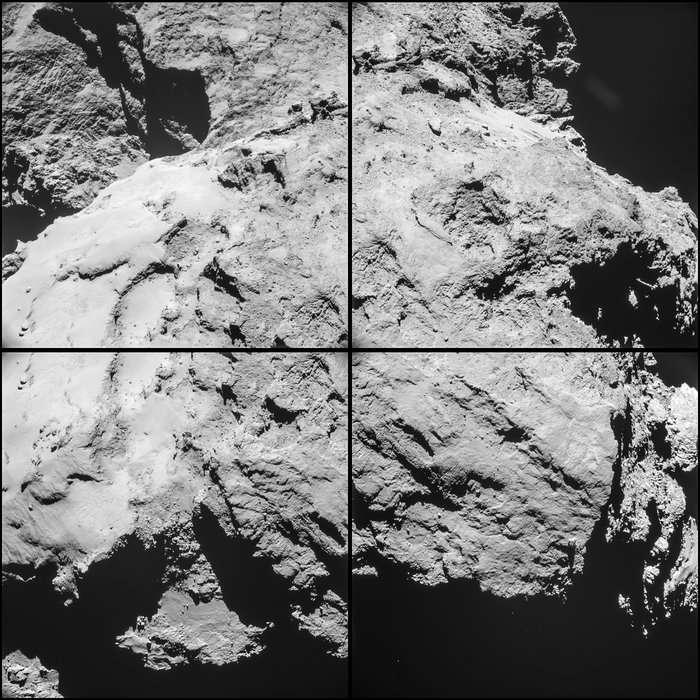 Image mosaïque de la comète 67P/Churyumov-Gerasimenko réalisée le 14 février, à 10 h 32 TU, un peu plus de deux heures avant le survol de Rosetta à seulement 6 km de la surface. La sonde spatiale était alors à 12,6 km du centre du noyau cométaire. La résolution est de 1,1 m/pixel et chacune des mosaïques mesure 1,1 km de côté. L'ensemble nous dévoile une grande partie de l'arrière du grand lobe et, dans le tiers supérieur, le cou et une fraction du petit lobe. © Esa,Rosetta, NavCam – CC BY-SA IGO 3.0