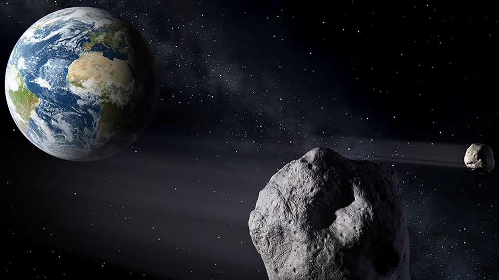 Dévier un astéroïde, que ce soit par un percuteur cinétique ou en le tractant gravitationnellement, est la solution la plus simple pour se protéger d'un astéroïde filant droit sur la Terre. Du moins s'il est recensé suffisamment tôt. © ESA, Pierre Caril