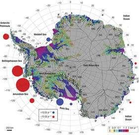 Les cercles indiquent la perte de masse (rouge) ou le gain (en bleu) dans les grands bassins. Les chiffres indiquent des gigatonnes par an. Cliquez pour agrandir. Crédit : Nature Geoscience
