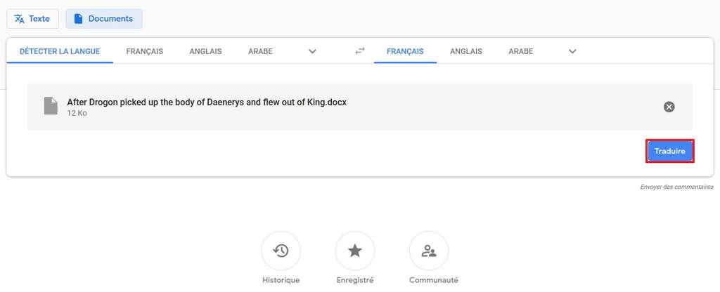 Cliquez sur « Traduire » après avoir choisi un document. © Google