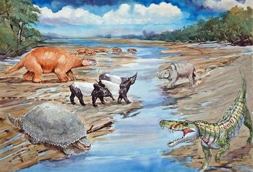 Faune terrestre sur les bords de la Mer Pebas (aquarelle du peintre péruvien Daniel Peña réalisée dans le cadre de l'Exposition PURUSSAURUS) Reproduction et utilisation interdites