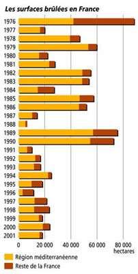 Graphique des surfaces brûlées en France de 1976 à 2001.
